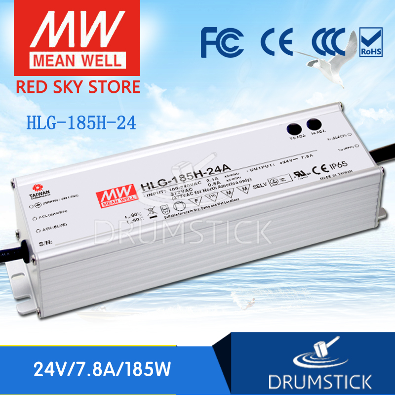 цена на Hot sale MEAN WELL HLG-185H-24 24V 7.8A meanwell HLG-185H 24V 187.2W Single Output LED Driver Power Supply