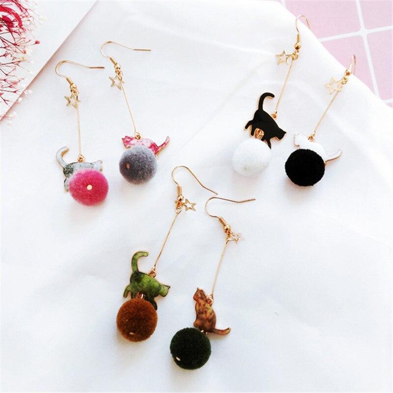 Hot Creative Cute Coloured Drawing Pattern The Kitten Hair Bulb Woman Of Earrings Asymmetric Cartoon Girl Earrings Pendants 2018