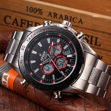 HPOLW Chronograph Men LED Watch Relogio Masculino Digital Sport Quartz Watch Clock Men Creative Army Military Wrist Watches