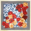 90 cm * 90 cm 2016 Nueva Moda Bufanda Cuadrada de Seda de Las Mujeres de Seda Imitado Flor Color de Rosa y Houndstooth Impreso Bufandas mantón Hijab