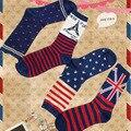 2015 Новая Мода Рождество Странные носки Звездное Знамя Хлопок полосой носки союз Флаг зима потепление Плющ башня носки