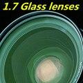 Lente de cristal 1.7 lente asférica película verde de alta definición de alta refracción ultra-fina de alta miopía lentes de prescripción