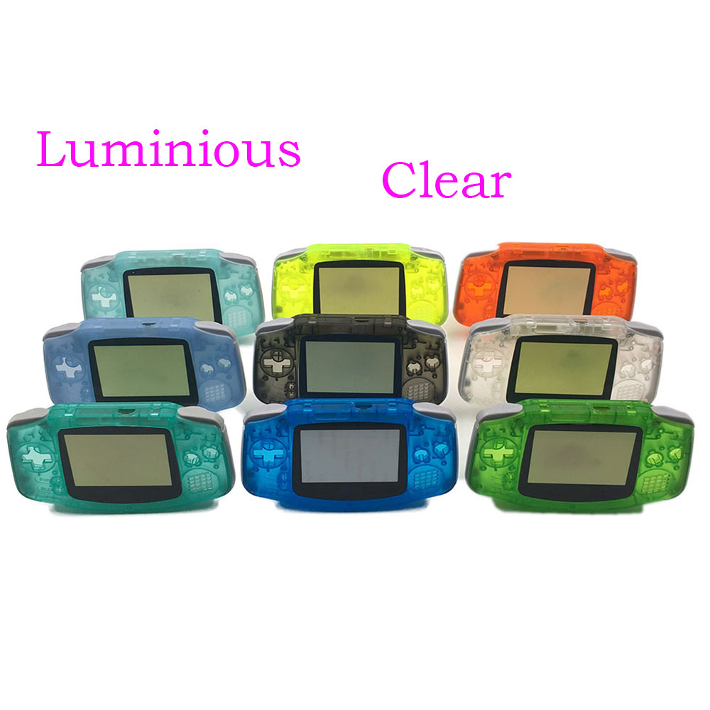 Green & Blue For Gameboy Advance Glow in the Dark Plastic Shell Case Housing w Screen For GBA Luminous case Cover