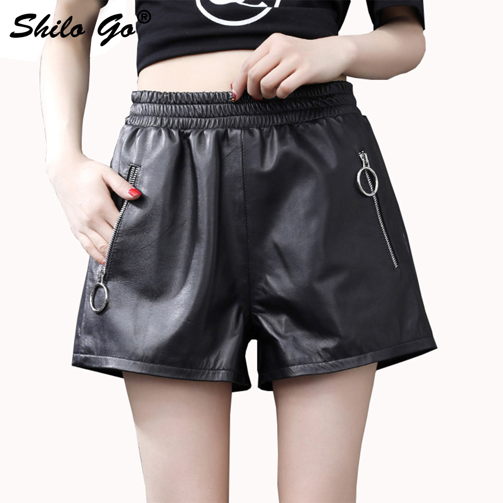 Leather Shorts Womens Summer Fashion Sheepskin Genuine Leather Shorts Stretch High Waist Concise Casual Shorts Black