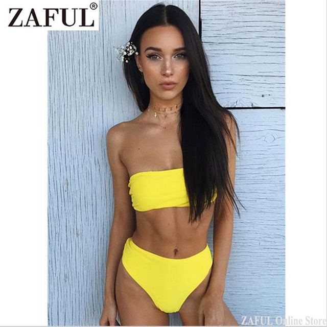 e40d1ad172406 ZAFUL 2019 NEW Style Bandeau Bikini Rib Texture Brazilian Swimwear Female  High Leg Bathing Suit Women Sexy Swimsuit Biquini
