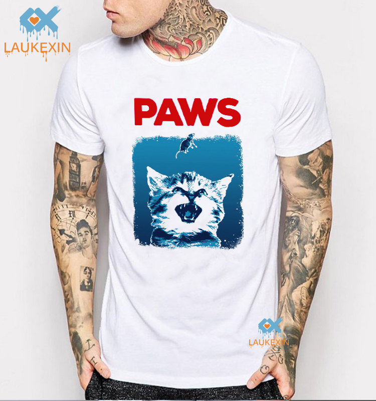 4014a787d PAWS Mens Funny T Shirt Jaws Shark Week Cat Kitten Parody Movie Poster  Camiseta Shirt Harajuku Graphic Tee Summer Print Shirt
