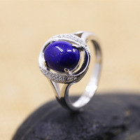 925 Sterling Silver Jewelry Silver Lapis inlay refined atmospheric ring