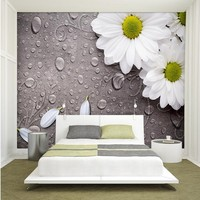 Foto papel de parede 3d estéreo hotel fundo papel de parede quarto sala de estar retro gotas de água branca flor decoração mural