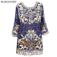 BLINGSTORY Brand Tshirts Big Size Woman Luxurious Embroidery Flower Sequin Summer T shirts for Women KR3601 2