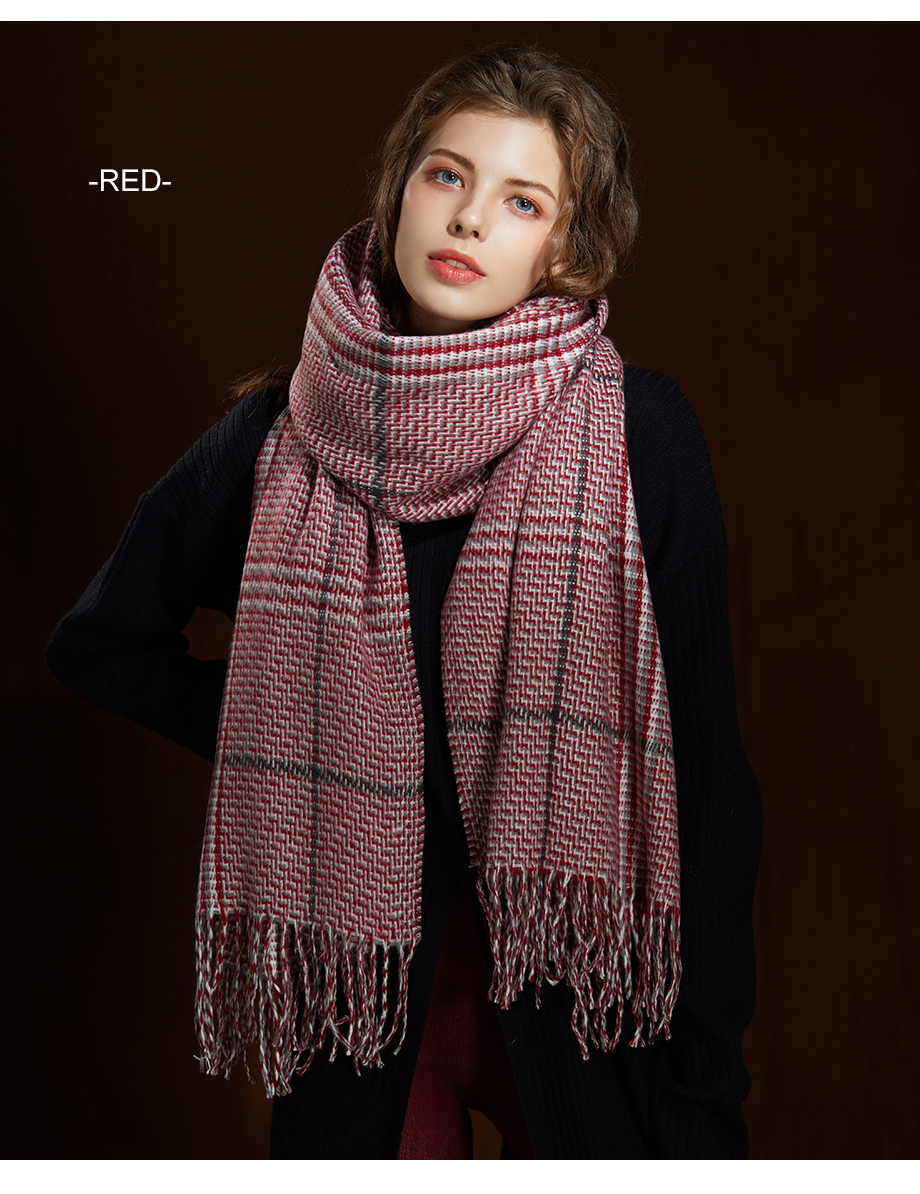 2019 New Winter Autumn Wool Knitted Women Scarf Plaid Warm Cashmere Scarves Shawls Luxury Brand Neck Lady Wrap High Quality (8)