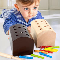 Magnetic Catch Worm Game Montessori Wooden Toys Baby Memory Training Matching Pair Game Math Early Educational Interactive Toy