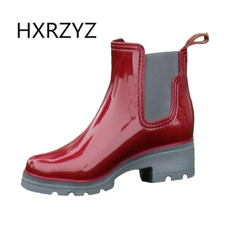 HXRZYZ women ankle rain boots female black rubber boots spring/autumn new fashion outdoor Slip-Resistant waterproof shoes women azorno