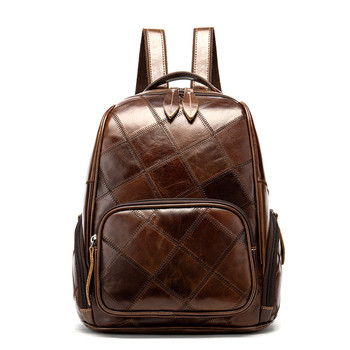 Vintage Patchwork Natural Genuine Leather Women Backpack Casual Full Grain Leather Women's Travel Bags