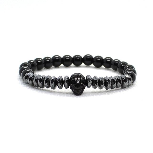 Bracelet Men Accessories Matte Oxyn Stone Beads Skull Erkek Bileklik Set Crown Jewelry Mens Bracelets For Women Pulseras Mujer 2