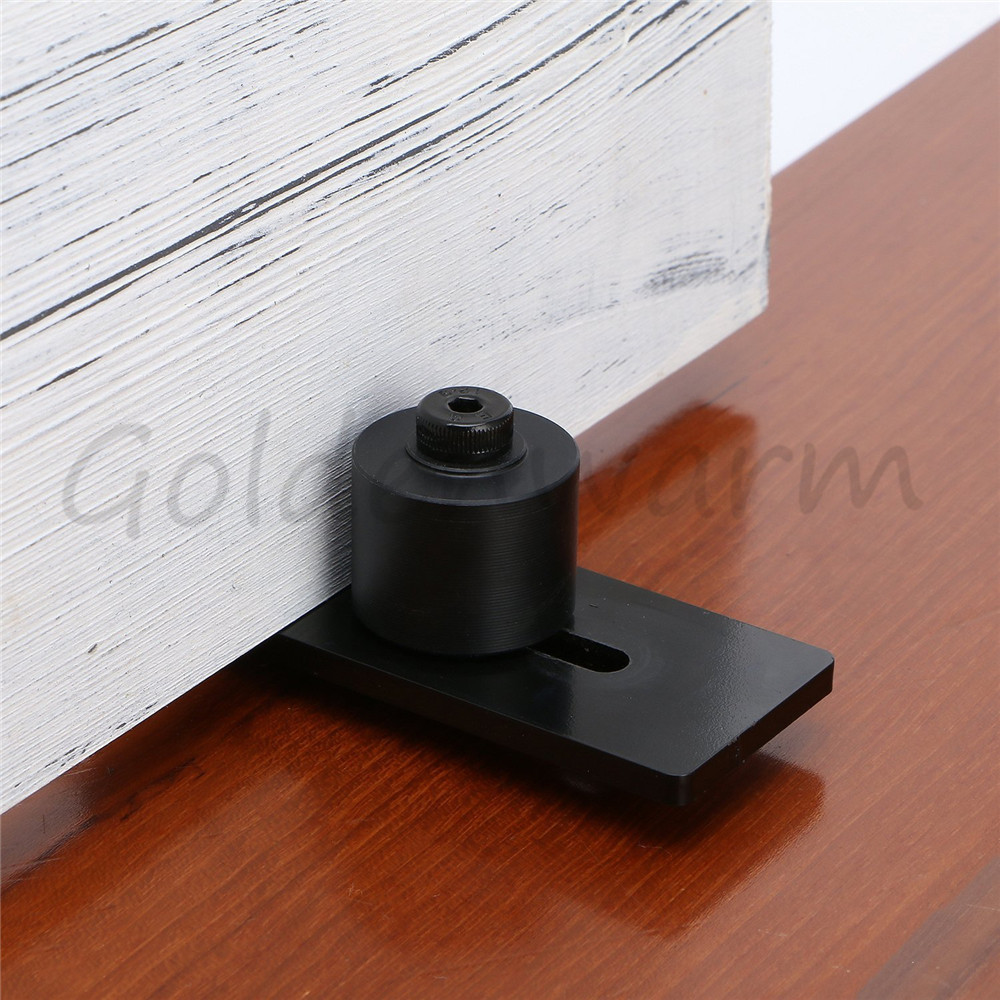 Stay Roller Guide Sliding Barn Door Bottom Guide Adjustable Floor Guide Goldenwarm Wall Mounted Hardware with Coated Black 1Pack the ivory white european super suction wall mounted gate unique smoke door
