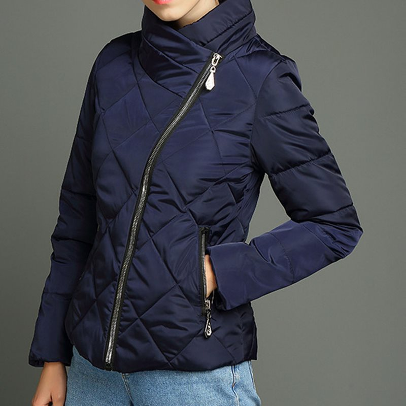 Winter Warm 2019 Black Gothic Simple Casual Women Cotton Padded Jackets Loose Zipper Pocket Outwears Female Overcoats Blue Coats in Parkas from Women 39 s Clothing