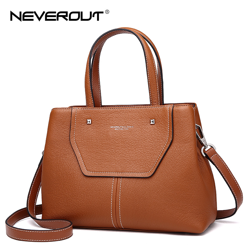 NEVEROUT Women High Quality Genuine Leather Handbags Tote Ladies Shoulder Bags Ladies Casual Handbag Totes Sac a Main for Woman women split leather totes handbags large big soft orange fashion simple sac a main tote bags for ladies handbags bags for girls