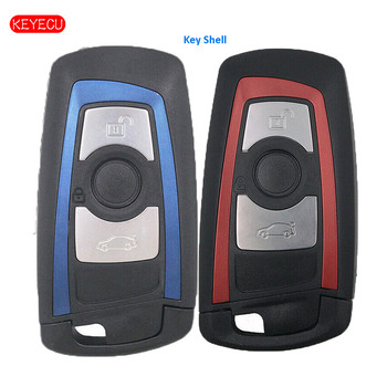 Keyecu 10PCS Replacement Smart Remote Key Shell Case 3 Button for BMW YGOHUF5662 Uncut HU100R Red / Blue