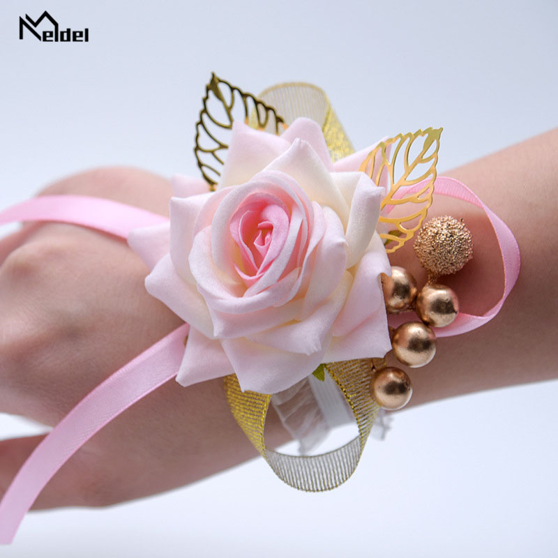 Meldel Bride Wrist Corsage Wedding Boutonniere Bridesmaid Lace Elastic Wristband Flower Party Prom Corsages Wedding Supplies