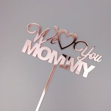 5pcs rose gold cake topper we love you mommy birthday morther