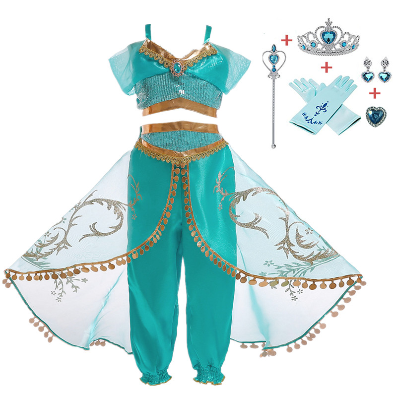 Girls Jasmine Cosplay Dresses Up for Girl  Princess Dress Arabian Fantasy Costume  Summer Sleeveless Sequined Party Dress Принцесса Жасмин
