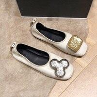 Luxury Brand Black White Slip On Women Flats Metal Button Studded Ladies Shoes Square Toe Soft Sheepskin Loafers Women Creeper