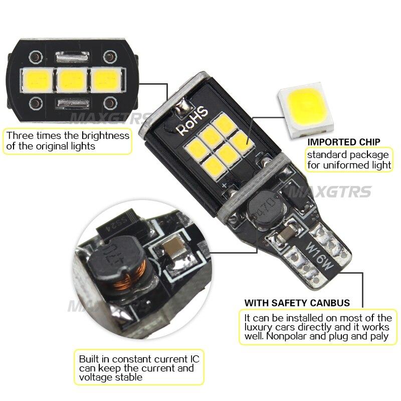 2x MAXGTRS T15 W16W 921 912 Amber / Putih Mobil LED Bulb CANBUS - Lampu mobil - Foto 3