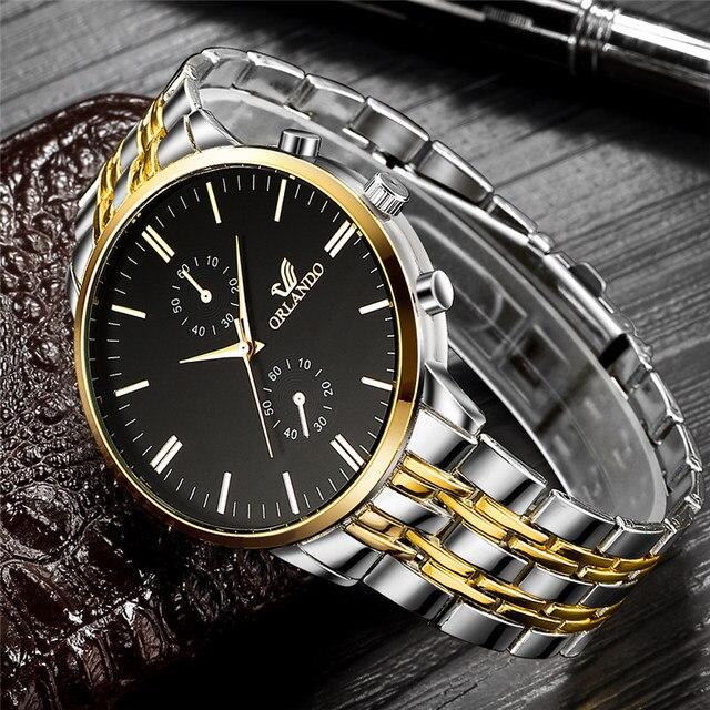 ORLANDO Fashion Quartz Men's Silver Gold Plated Stainless Steel Wristwatch  1