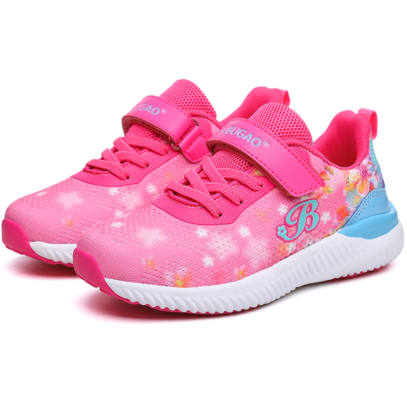 Fly Weave Print Letter B Children Shoes Gilrs Hook And Loop Colorful Kid Sport Shoe Ultralight Breathable Walking Sneakers