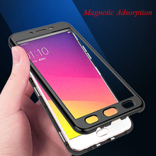 Magnetic Adsorption Case For OPPO R9 Cases Tempered Glass Back Cover High-end PC Bumper +Glass Film OPPOR9