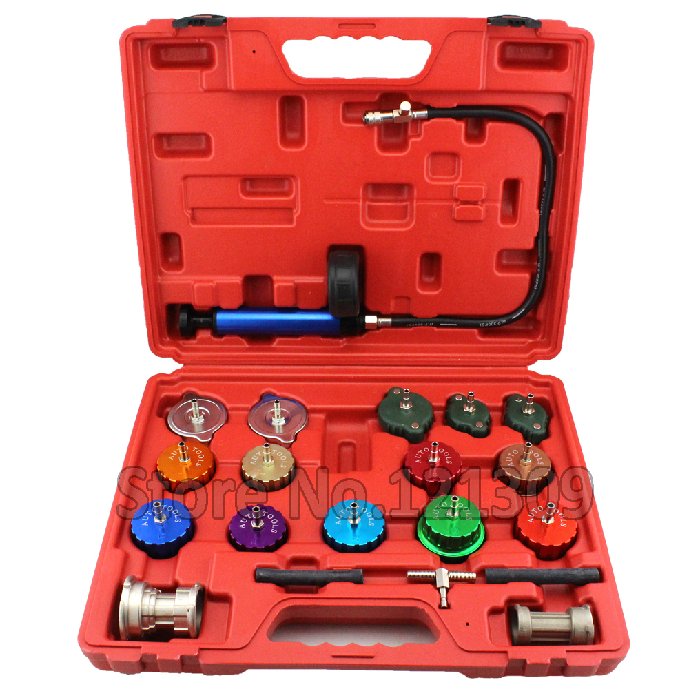 21pcs Automotive Radiator Tester Cooling System Radiator Pressure Tester Pump And Many Adapters