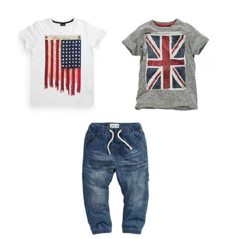 ST110 free shipping new boys summer clothes set with British and American flag baby clothes T-shirts + jeans kids clothes retail big teenage boys clothes set summer 2017 kids colorful striped t shirts