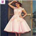 Customized Pink Scoop Neck Short Women Clothes Vestidos Dresses 2016 Beaded Short Prom Dresses