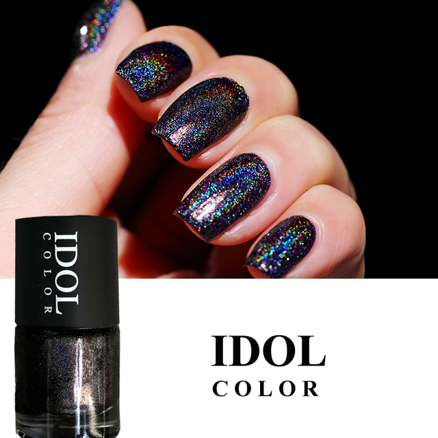 IDOL COLOR Laser #303 Quick Dry Holographic Nail Polish Holo Glitter ...