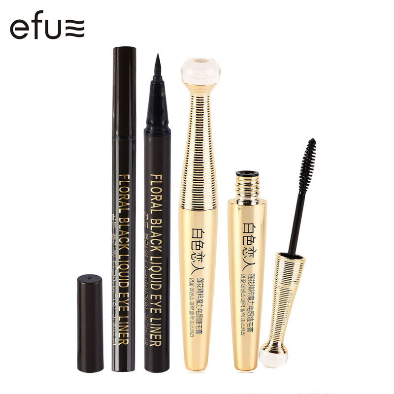 2Pcs/Lot Lengthening Black Mascara Waterproof Beauty Eyes 6.5g+5g Makeup Brand EFU #EFUEYE001