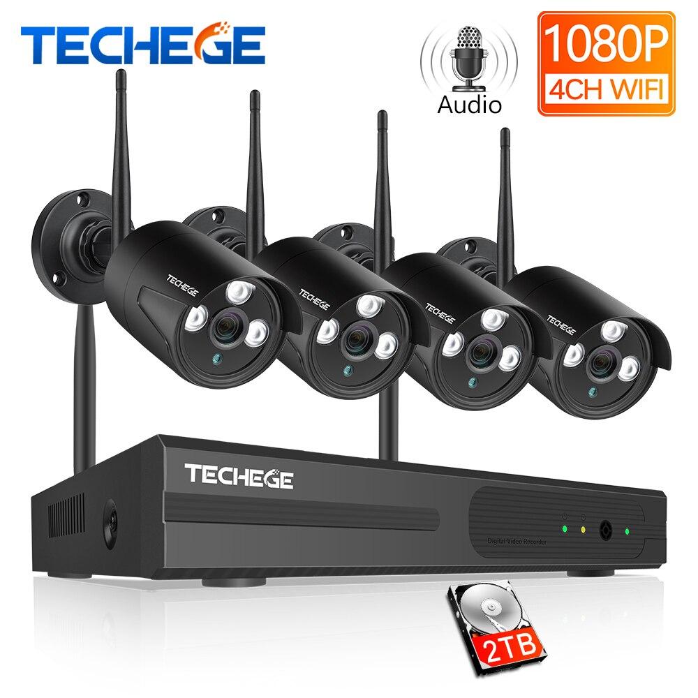 2MP 4CH Techege HD 1080P NVR Sistema de CCTV Sem Fio Ao Ar Livre À Prova D' Água IP Wi-fi Câmera Gravação de Áudio de Vídeo de Segurança de Vigilância kit