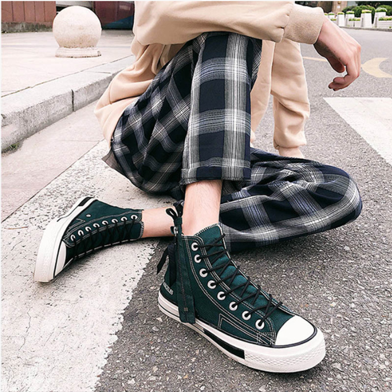 2019 Frühjahr Hohe Leinwand Schuhe Casual Retro Herren Schuhe Trend Zipper Casual Schuhe Hip-hop Street Dance Schuhe Unisex Flache Schuhe