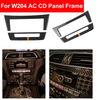 Car Styling Carbon Fiber Center Console CD & AC Air Conditioning Panel Trim Cover Sticker For Mercedes Benz C Class W204 C220