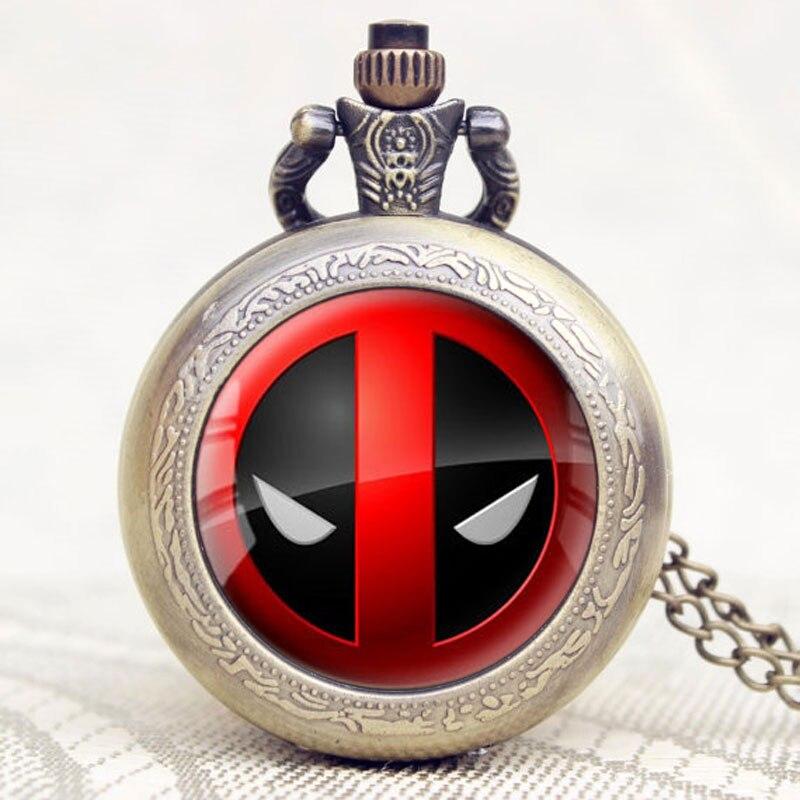 2017 NewSmall American Comic Badass Deadpool Quartz Pocket Watch Men Womens Necklace Chain Jewelry Watch