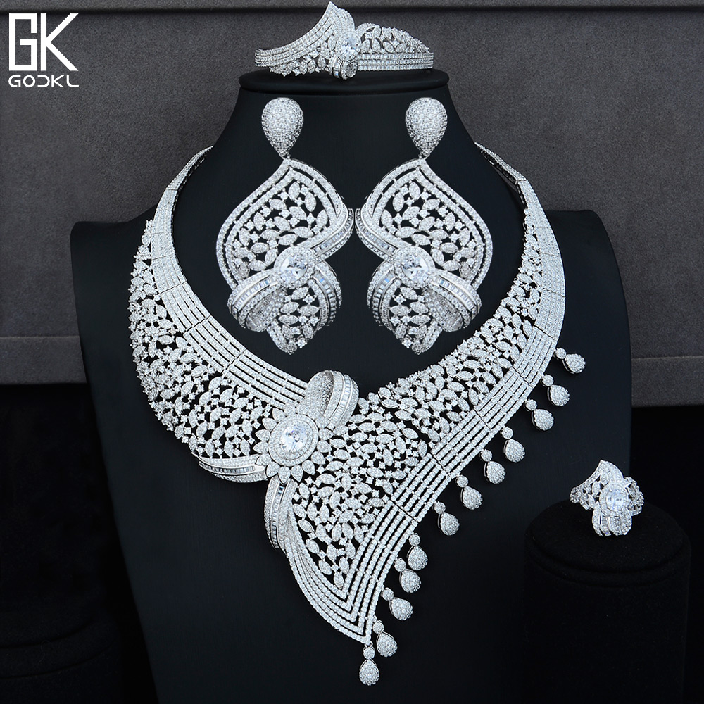 Takı ve Aksesuarları'ten Takı Setleri'de GODKI Moda Lüks Geometrik 4 ADET Afrika takı seti s Kadınlar Için Kübik Zirkon Kristal CZ Hint Dubai Gelin takı seti'da  Grup 1