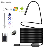 Hazy Beauty Android USB Type C Endoscope Camera 10M Flexible Snake Hard Wire USB Type C