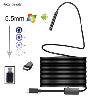 Hazy Beauty Android USB Type C Endoscope Camera 10M Flexible Snake Hard Wire USB Type C