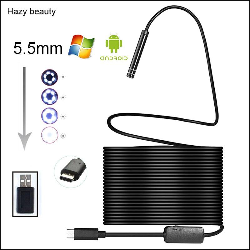 Wazige schoonheid Android USB Type C Endoscoop Camera 10 M Flexibele Snake Harde Draad USB Type C Waterdichte Buis Inspectie Gereedschap Camera