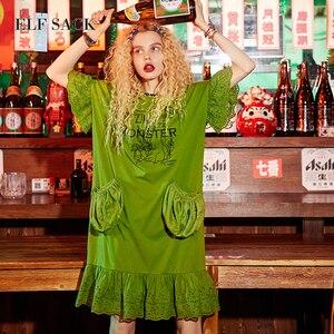 Image 3 - ELF SACK Women Oversize letnie sukienki kieszenie koronkowe długie sukienki damskie O Neck Mixi Plus Size sukienki damskie nadrukowana odzież