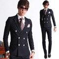 (Jaqueta + Calça) Ternos Marca de moda Homens Preto Blazers Slim Fit Prom Vestido Feito Sob Encomenda Do Casamento Do Noivo Negócios Smoking Masculino