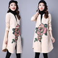 Linen Trench Coat Women Winter 2016 Flowers Vintage Trench Coats Cardigan Beige Loose Cotton Chinese Tops Winter Woman Tops