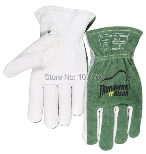 Leather Work Glove Grain Bison Leather Driver Safety Glove leather combined safety glove deluxe leather work glove