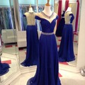 Royal Blue Chiffon Beading Crystal A Line Cap Sleeves Formal Evening Dresses Long For Wedding Party