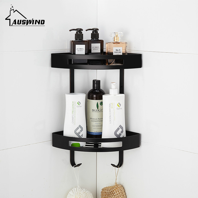 Europe Antique Black Bathroom Shelf Toilet Corner Rack Sus 304 Stainless Steel Basket Wall