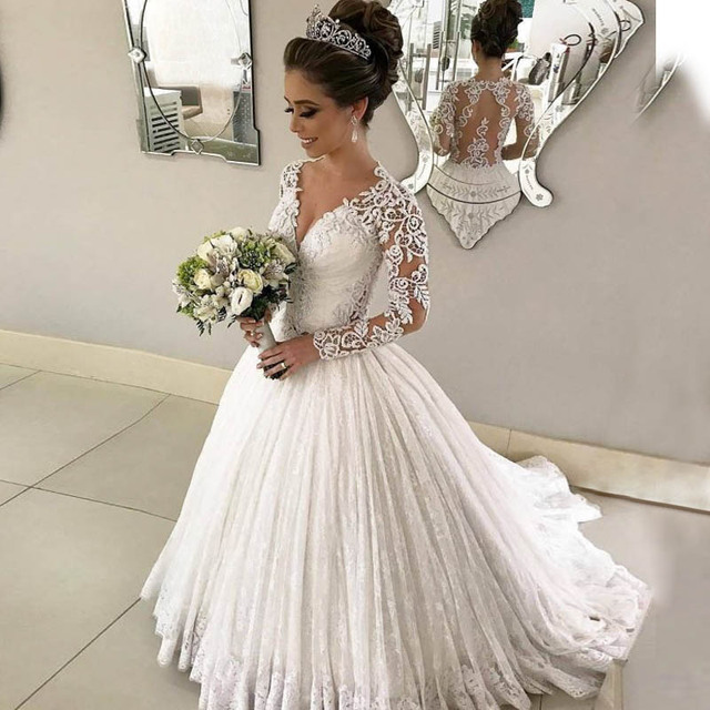 Lover Kiss Vestido De Noiva Romantic V Neck Lace Wedding Dress With Long Sleeves Bridal Gowns Illusion Back robe mariee